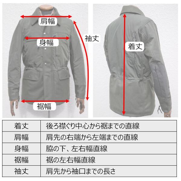 ジャケット採寸(着丈・肩幅・身幅・裾幅・袖丈)