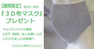 【期間限定】3D布マスクプレゼント
